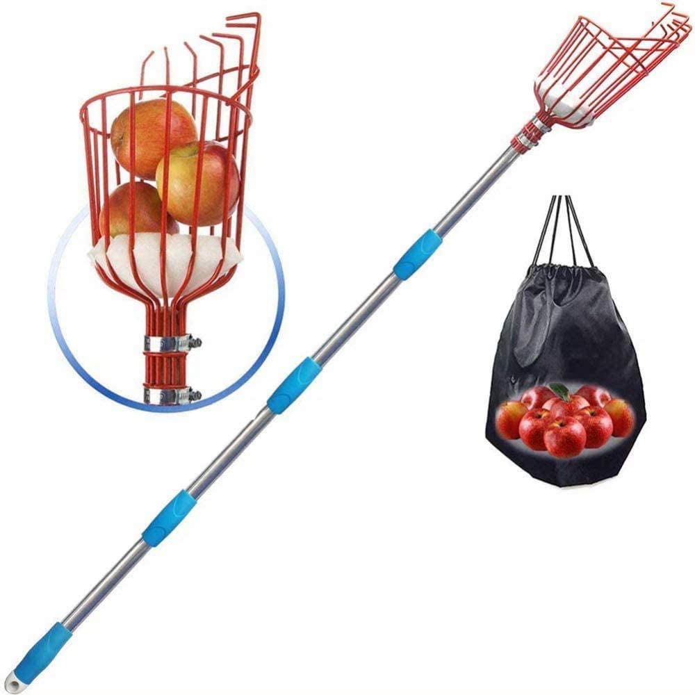 SCJS Fruit Picker Basket with Long Handle, Garden Fresh Fruit Orchard Picking Tools for Apple Orange Pear and Other Fruit-3.6M