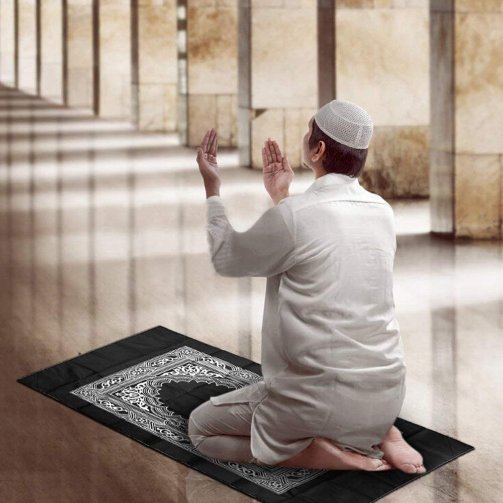 Leezo Portable Muslim Prayer Blanket Travel Compass Islamic Prayer Blanket Home Textile