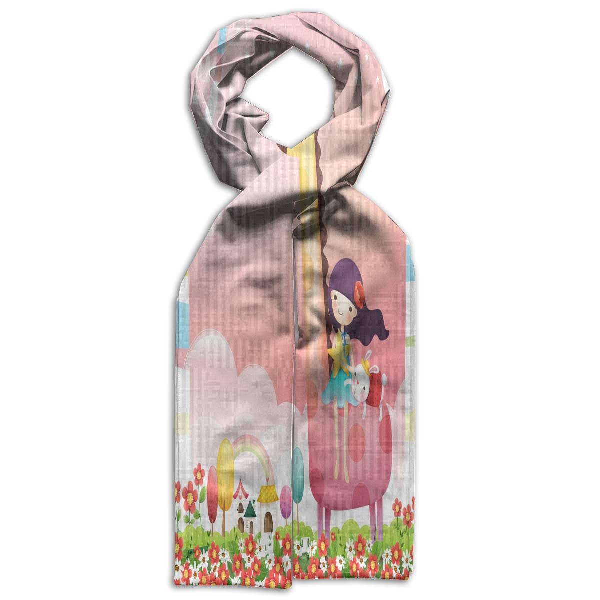 Kids Scarf Girl With Rabbit On A Giraffe Neckerchief Winter Warm Bandelet For Boys