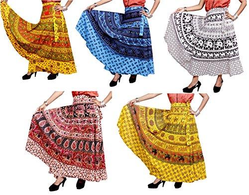 Amazing India 100pcs Batik Jaipuri Printed Cotton Gypsy Wrap Around Long Skirt Wholesale Lot - Cotton Batik Wrap