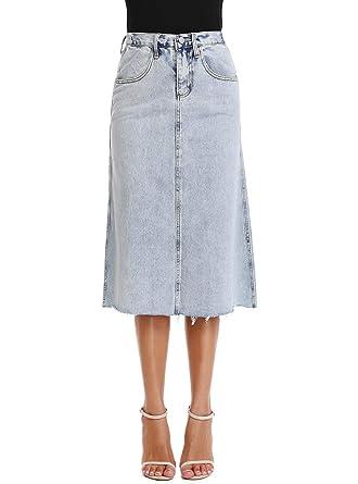 a4a033773962df kefirlily Femme Midi Jupe en Jean Taille Haute Élégante Jupe Crayon ...