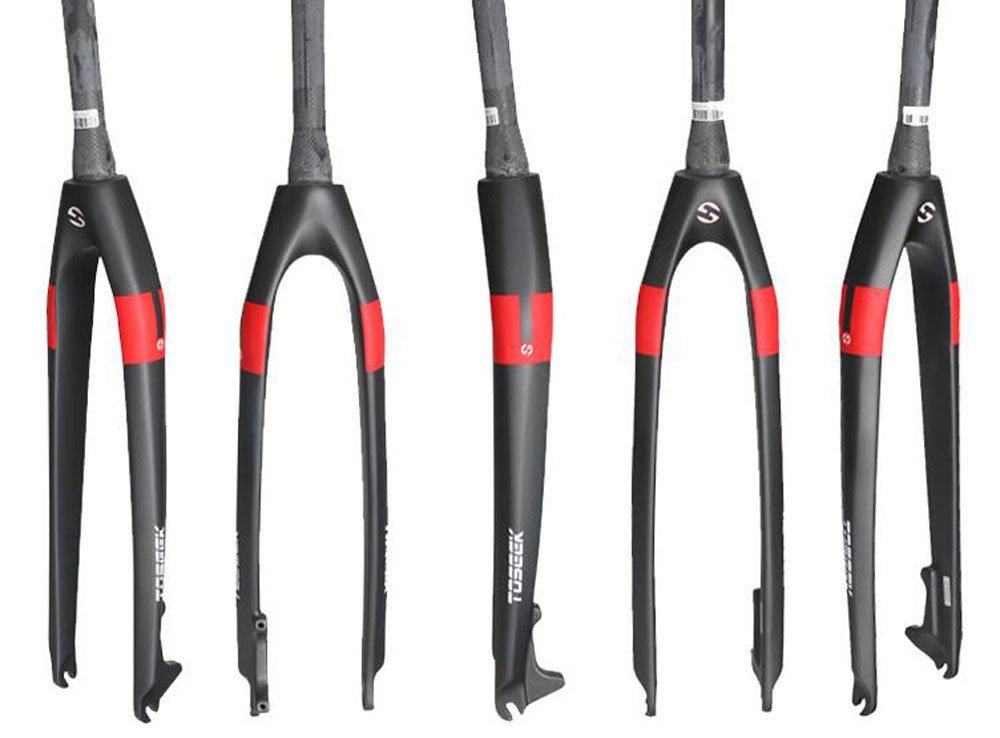 TS-F02 正規品TOSEEK フォーク ディスブレーキ用 カーボンフォーク 26/27.5/29インチ テーパード B07D765DZX 26インチ|レッド レッド 26インチ