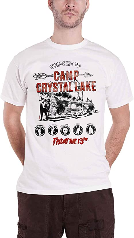 Imagen deFriday The 13th Officially Licensed Merchandise Camp Crystal Lake T-Shirt (White)