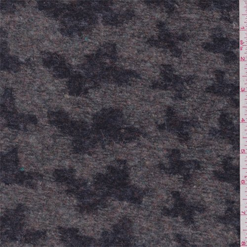 Sage/Navy Houndstooth Boiled Wool Knit, Fabric by The Yard -