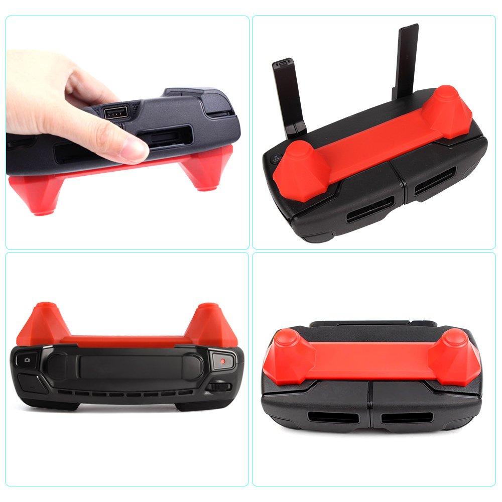 KUUQA 2 Pcs Upgrade Version Transmitter Controller Stick Thumb Protective Clip Rocker for Dji Mavic Pro,Red and Black DJI mavic not included