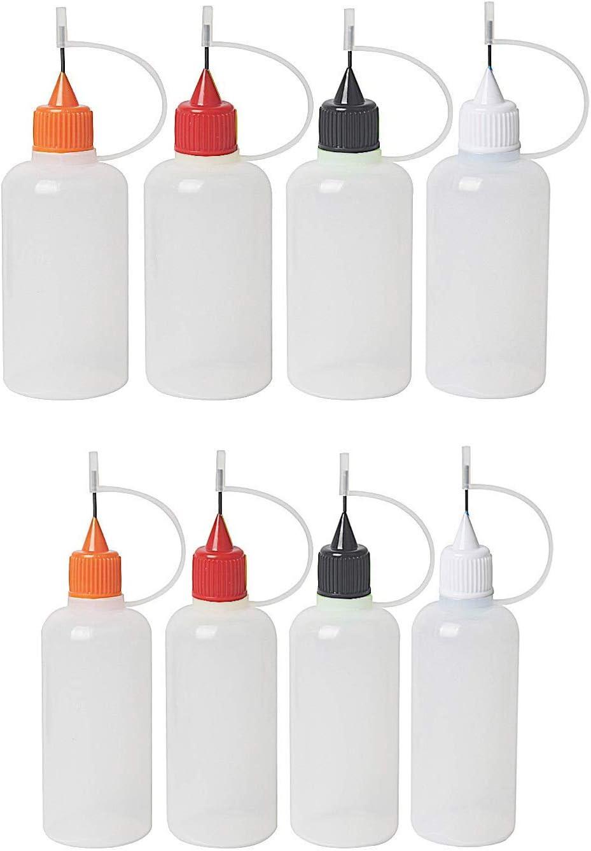 Floranea Precision Tip Applicator Bottles 4 Pcs 30 ML 4 Pcs 15 ML Translucent Glue Bottles Additional Applicator Tips for DIY Quilling Tools Craft Art Project Painting