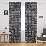 Cheap Deconovo Blackout Curtains Modern Geometric Curtains Rod Pocket Trellis Curtains for Kids Room 52W x 84L Inch with Printed Rhombic Pattern Dark Grey 2 Drapes
