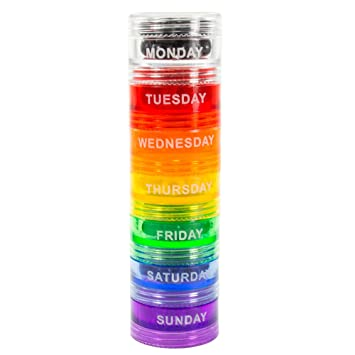 Marvelous GMS 7 Day Pill Organizer   Stackable With Extra Lid And Adhesive Labels For  Each Day Photo