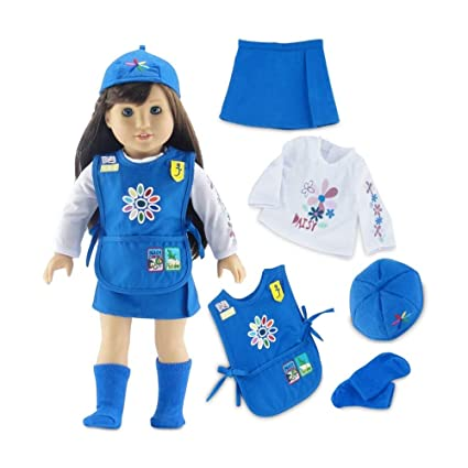 146f0bc7b8f17 18 Inch Doll Clothes | Daisy Girl Scout-Inspired 5 Piece Outfit, Including  Tunic with Embroidered Patches! | Fits American Girl Dolls | Gift Boxed!