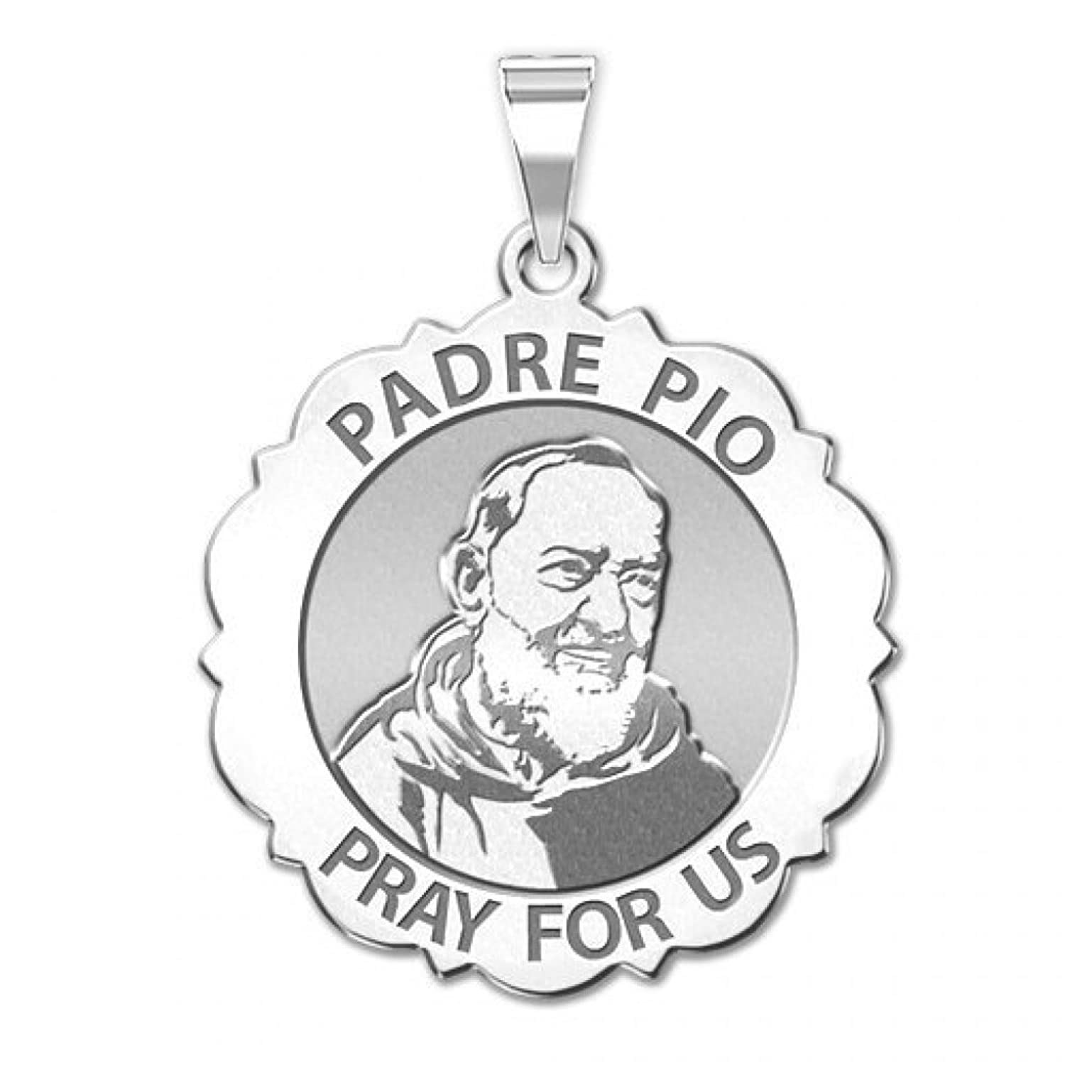 Padre Pio Scalloped Round Religious Medal 14K Yellow or White Gold, or Sterling Silver