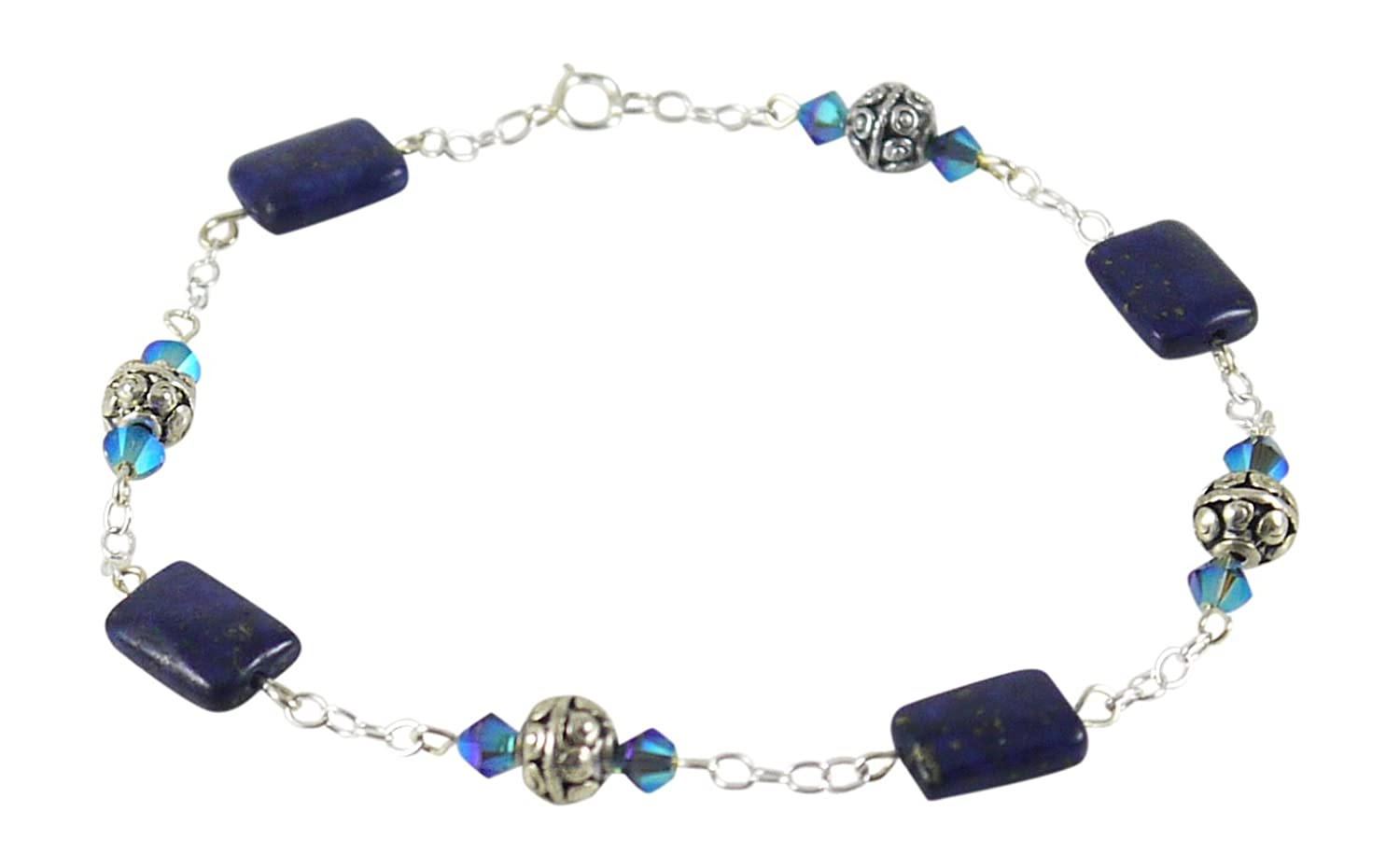"""Illusion Style Lapis Anklet - 9 1/8"""", with Swarovski Crystals"""