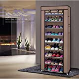 3 draw metal tool box - LEADZM 10 Tiers Shoe Rack Closet, Utility Shoe Storage Organizer, Shoe Shelves, Shoe Tower Cabinet with Non-woven Fabrics Dustproof Cover, Room-saving,Coffee