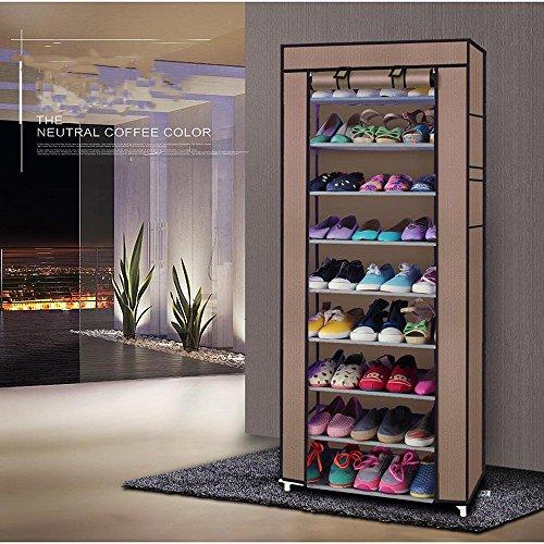 - LEADZM 10 Tiers Shoe Rack Closet, Utility Shoe Storage Organizer, Shoe Shelves, Shoe Tower Cabinet with Non-woven Fabrics Dustproof Cover, Room-saving,Coffee