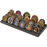 4 Rows Military Challenge Display Coin Holder Stand (Black Finish)