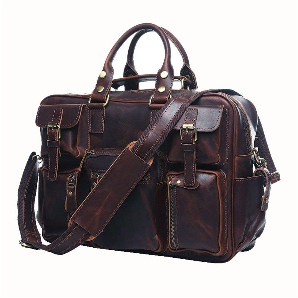 シンプルでスタイリッシュなビンテージレザーバッグ旅行男性バッグメンズショルダーメッセンジャーポータブルブリーフケース多機能ショルダーバッグ 旅行用ハンドバッグ (色 : Dark brown) B07NV5TDVV