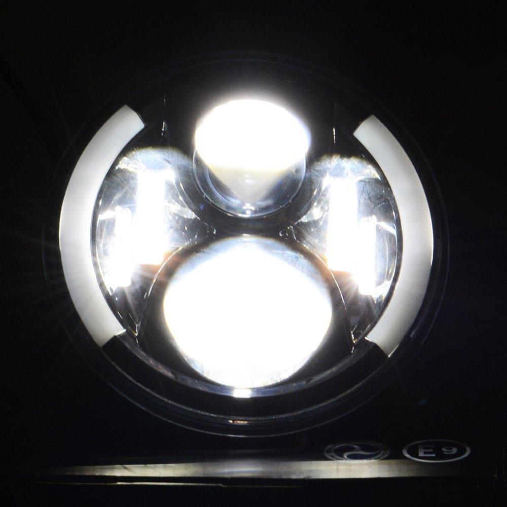 TURBO SII Pair For Jeep wrangler JKU JK CJ TJ LJProjector Headlight Angel eye 7 Inch Led Headlight Bulb Functional DRL White Halo + Amber turn singal Hi/Lo Beam Fit For Jk Tj Fj Cruiser Hummer H1 H2 by TURBOSII (Image #5)