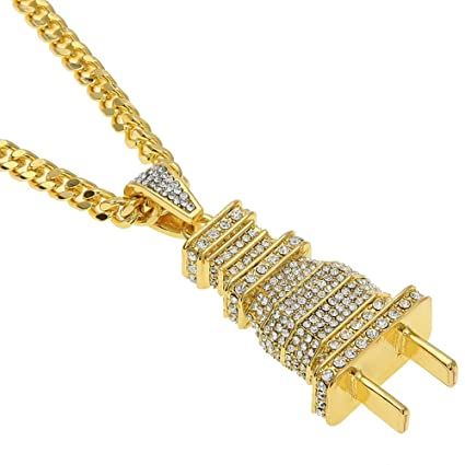 59c49e946f2b8 Hip hop 18K Gold Plated Titanium Steel Plug Pendant with Rhinestone Cuban  Necklace Mens Jewelry For Present (Gold)