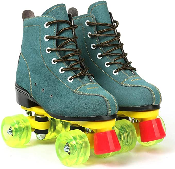 Classic High-top 4 Wheels Skating Roller Double Row Skates for Indoor and Outdoor Unisex Roller Skates for Women and Mens Black b,38 Boys and Girls with Bag