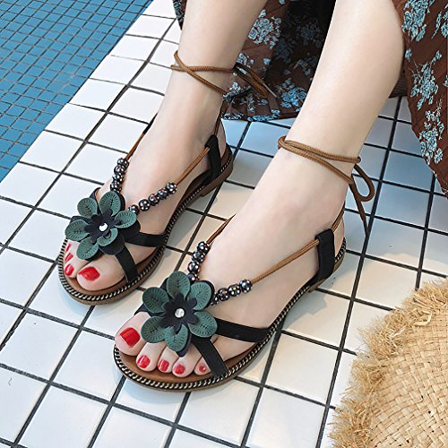 YVWTUC Verde Puntera para de Abierta Sandalias Mujer de Diseño Flores Playa vg7vqrwO