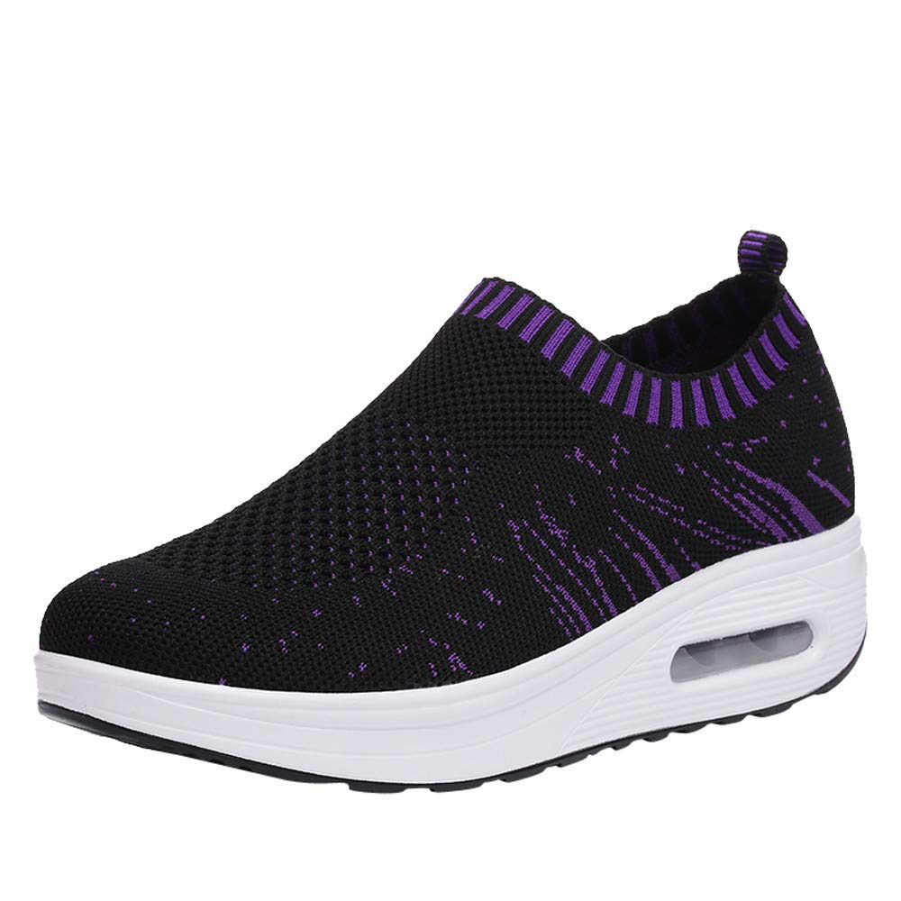Womens Anti Slip Running Shoes,Summer Lightweight Mesh Sports Athletic Sneakers (Wedges Black, US:8/LEN 9.7'')