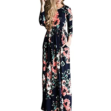 KaiCran Womens Vestido Longo Boho Bohemian Women Dress Chic Beach Tunic (Dark Blue, Large