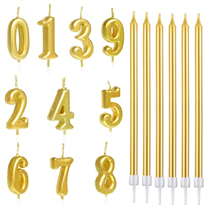 22 PCS Birthday Numeral Candles Gold Long Thin Cake Numbers 0 9