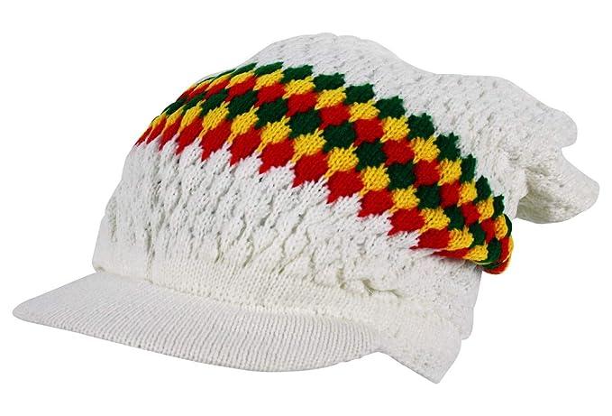0ddbd4bd0f7 Rasta Knitted Oversized Slouch Peak Beanie Hat Cap in White  Amazon.co.uk   Clothing