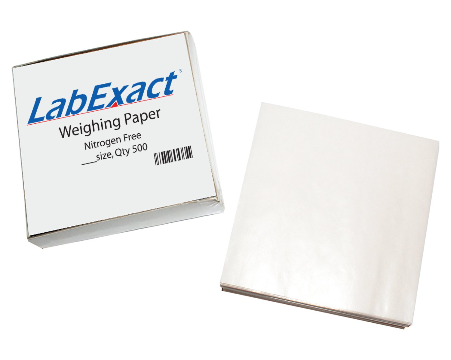 LabExact 1200159 W44 Cellulose Weighing Paper Sheet, Nitrogen Free, Non-Absorbing, High-Gloss, 4 x 4 Inches (Pack of 500)