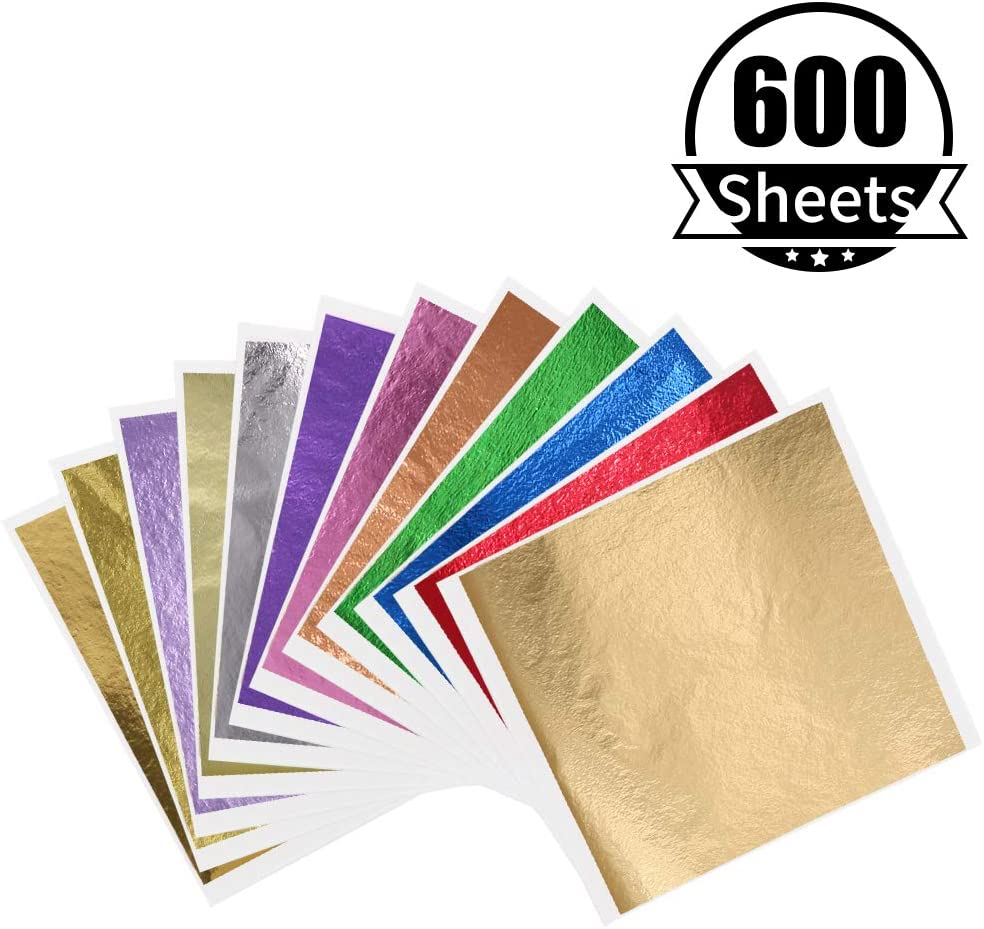 KINNO 12 Colors Imitation Gold Foil Sheets Multi-Color Gold Leaf Paper - 600 Pieces for Arts Decoration, Handcrafts, Gilding, Furniture, Nails, Paintings, Slime, Wall, Line, DIY 3.15 by 3.35 Inches