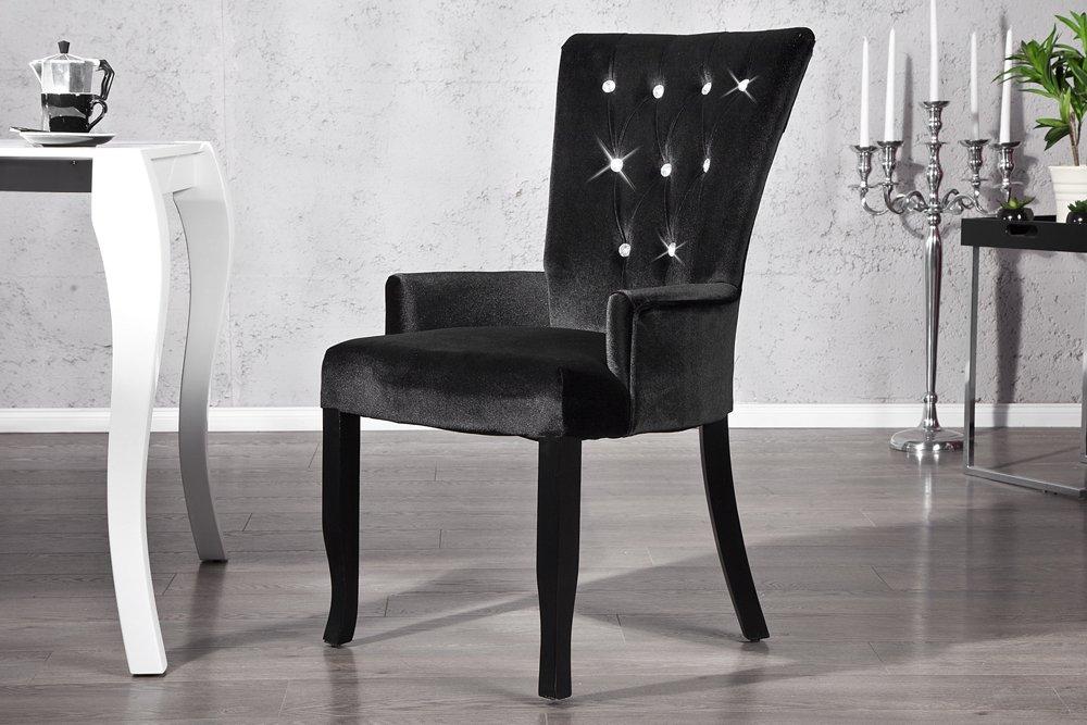 Invicta Interior Design Stuhl Barocco mit Armlehne Samtstoff schwarz ...