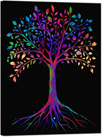 Amazon Com Sechars Tree Of Life Canvas Wall Art Abstract Color Painting Printed On For Modern Living Room Bedroom Decoration Stretched Artwork Ready To Hang Posters Prints