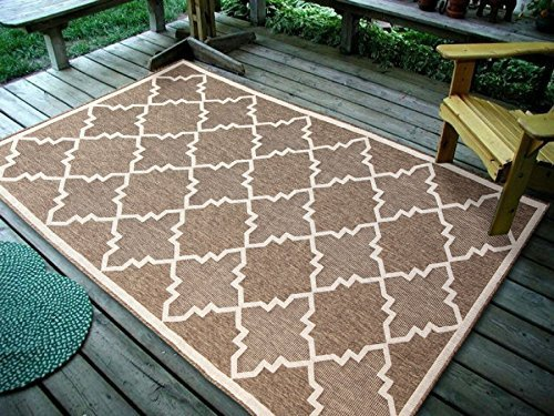 Contemporary Modern Rug Geometric Area (Furnish my Place Contemporary Geometric Trellis Brown, Indoor and Outdoor Area Rug, Easy to Clean, UV Protected and Fade Resistant)