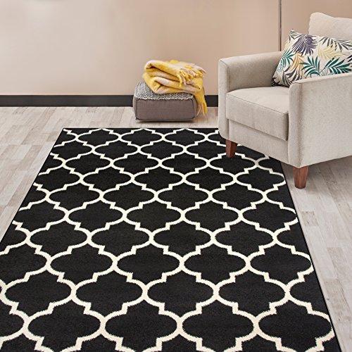 (Rugshop Contemporary Modern Moroccan Trellis Area Rug 5' x 7' Black)
