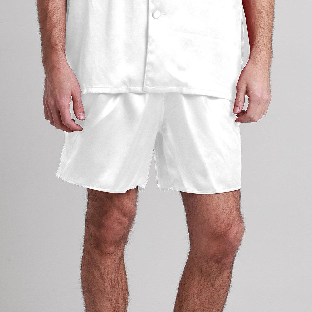 LilySilk Silk Pajama Pants For Men Drawstring Sleep Lounge Summer Pure Mulberry Charmeuse Soft Affordable White Medium