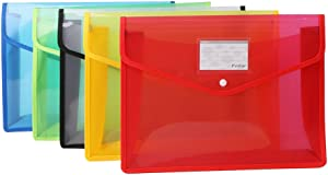 Fvtsar 5pcs Expandable File Wallets Plastic B4 Document Envelope Waterproof Transparent Folder with Snap Button Closure for School and Office