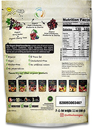 Wild & Real, Dried Organic Forest Berries, Cranberries, Blueberries, Cherries, 3.5 oz Per Pouch, 2 Pack
