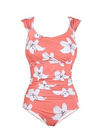 6b5ca888ea3 Huiyuzhi Women Off Shoulder Swimsuits One Piece Floral Print Padded Bikini  Monokini Swimwear at Amazon Women s Clothing store