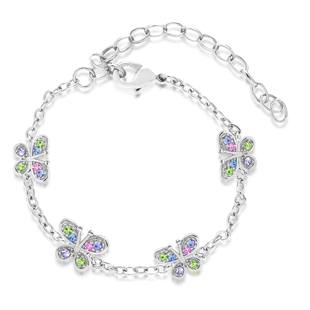 Premium 8MM Crystal Butterfly bracelet Kids Baby Girl Tween By Chanteur – White Gold Tone – Perfect Gift For Children
