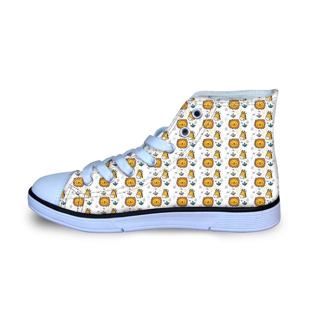 Canvas High Top Sneaker Casual Skate Shoe Boys Girls Cactus Lovely Lion Giraffe Heads