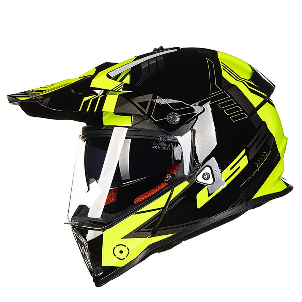 XMGJ Helmets Helmet- Full Face Double Lens Off-road Motorcycle Motorbike Crash Safety Head Protection (color : C, Size : XXL-59-62cm)