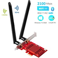 Hommie AC 2100Mbps WiFi Card Bluetooth 5.0 with Heat Sink, Wireless PCI-E Gigabit WiFi Adapter Dual Band IEEE 802.11AC 5GHz/2.4GHz WiFi Network Interface Card for Win10 Linux 4.14+ (WIE9260)