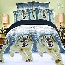 4PCS 3D Snow Wolf Bedding Set Polyester Comforter Sets Prints Duvet Cover Set Queen Size(1PC Bed sheet/1PC Comforter Cover/2 PCS Pillow Covers)