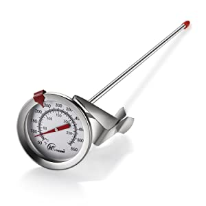 "KT THERMO Deep Fry Thermometer With Instant Read,Dial Thermometer,12"" Stainless Steel Stem Meat Cooking Thermometer,Best for Turkey,BBQ,Grill"
