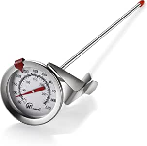 """KT THERMO Deep Fry Thermometer With Instant Read,Dial Thermometer,12"""" Stainless Steel Stem Meat Cooking Thermometer,Best for Turkey,BBQ,Grill"""