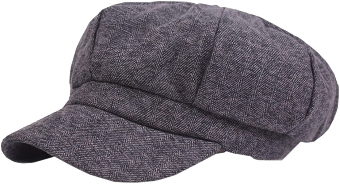 XueXian TM Mens Womens Cold Weather Short Brim Octagonal Newsboy Hat Beret
