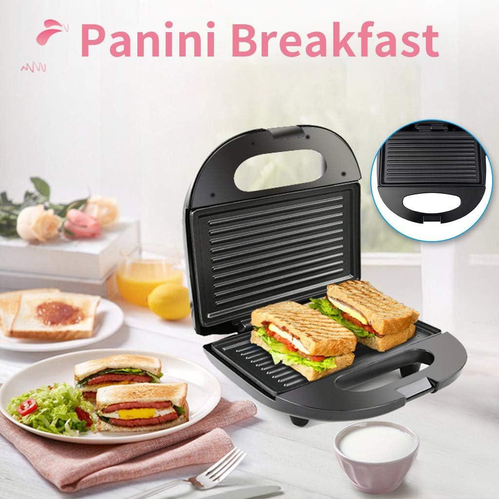 Panini Machine Sandwich Machine Home Breakfast Barbecue Non-stick Pan Toaster, Roast, Bake, Dehydrate Indoor Electric Grill, Black