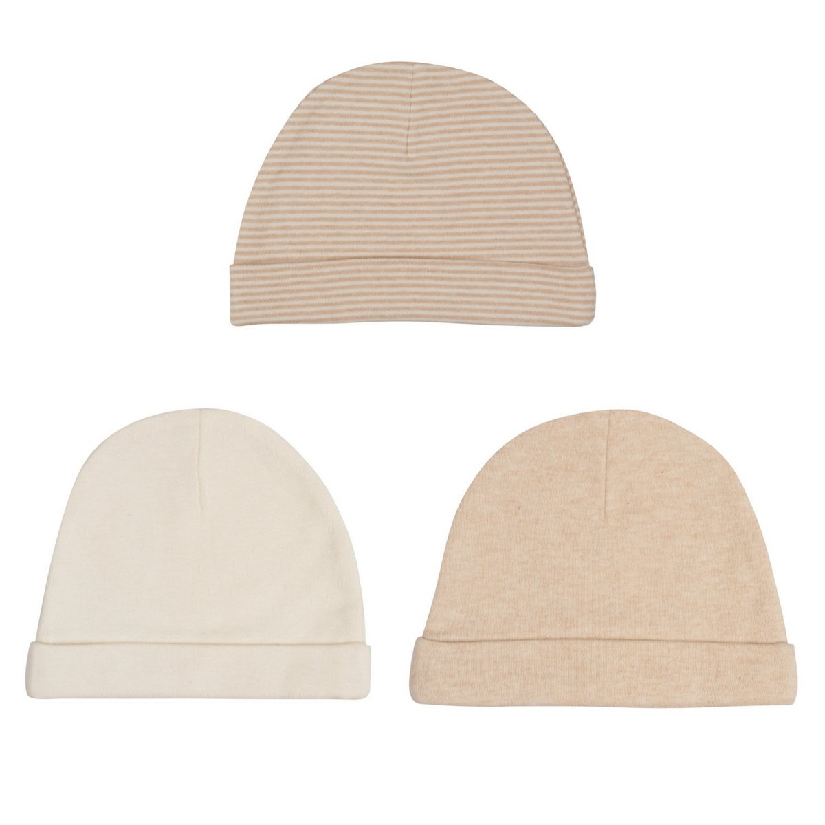 Niteo Organic Cotton Baby Caps, Luxuriously-Soft, All Natural, Dye-Free, 3-Pack, Solid/Pinstripes, 12M
