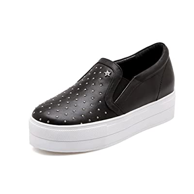 1e49d3640d62 AdeeSu Womens Casual Round-Toe Solid Slip-Resistant Leather Loafers Shoes  SDC04474