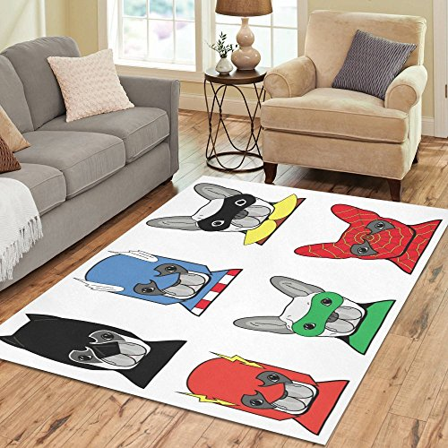 Puppy Rug - InterestPrint Bulldog Superheroes Area Rug Carpet 7 x 5 Feet, Costume Puppies Dogs with Masks Modern Floor Rugs Mat for Office Home Living Dining Room Decoration