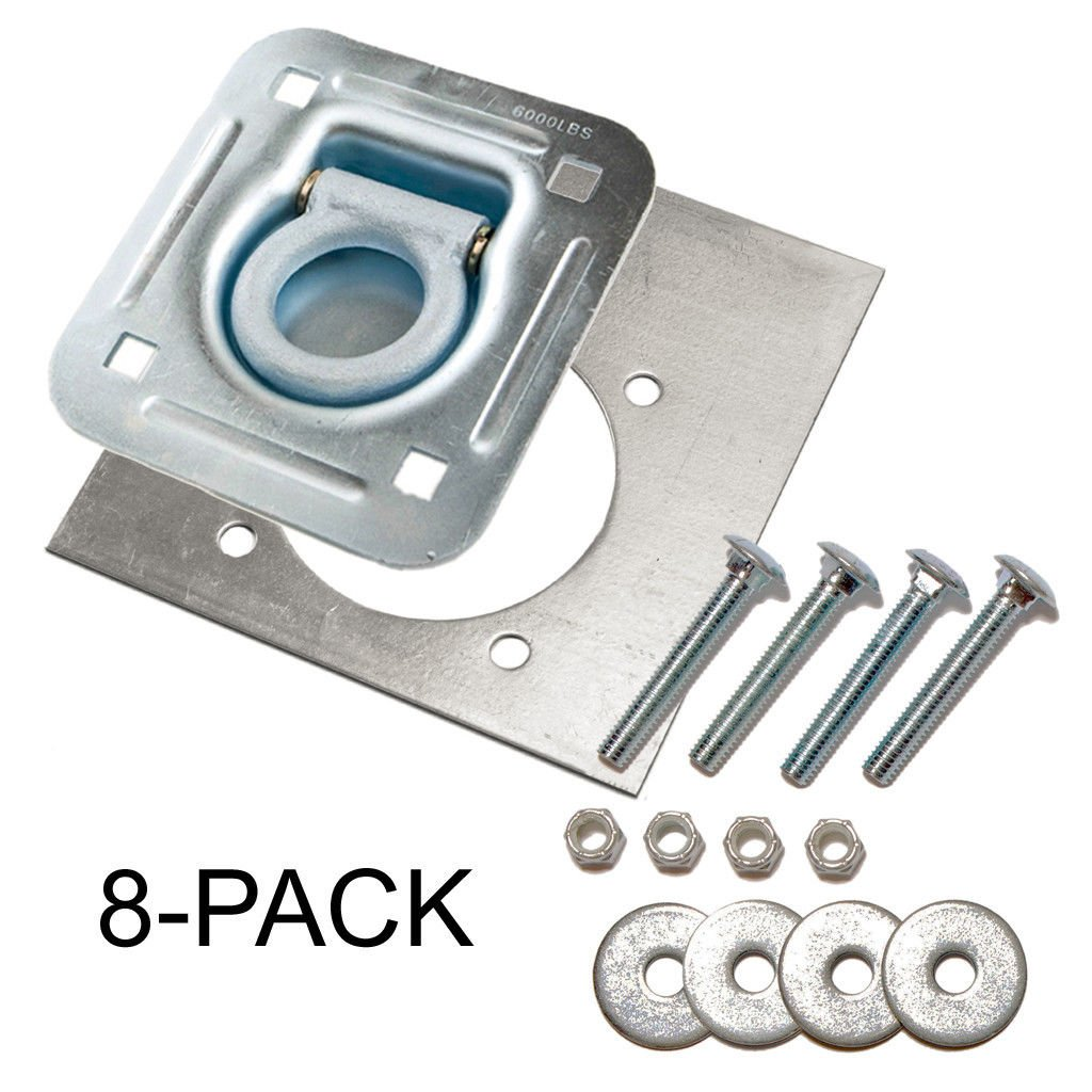 D-Ring Recessed 6,000 lb. Tie Down and Backing Plate w/2-1/2 Hardware 8-pack by Farm Tough Tools